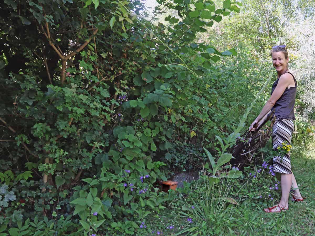 Ehemaliger Durchgang zwischen der Spross-Liegenschaft und dem Garten mit Hunden